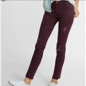 Express Midrise Ankle Legging Wine Jean Distressed